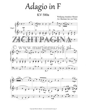 W.A. Mozart   Adagio in F KV580a (transcriptie voor orgel) - noten - zichtpagina