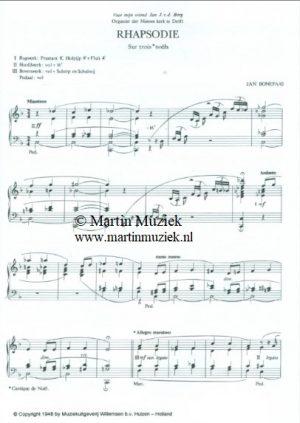 Zichtpagina - Jan Bonefaas | Rhapsodie Sur trois Noels - noten
